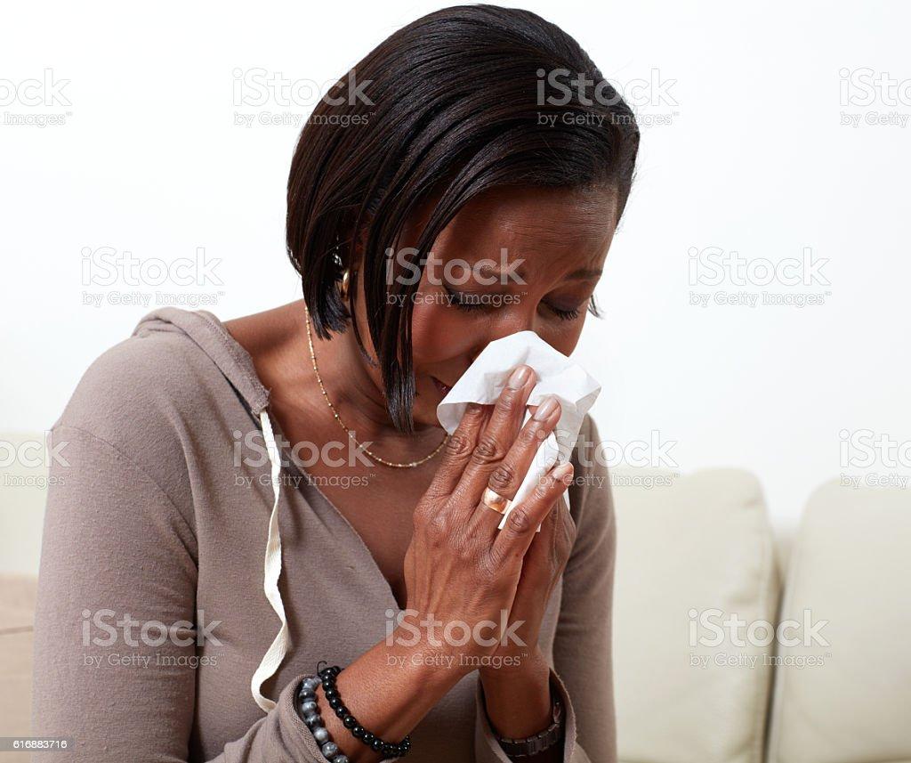 Woman allergy. stock photo