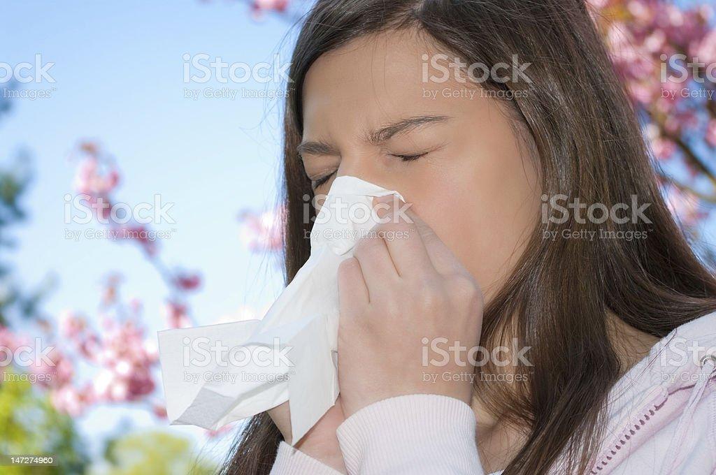 woman  allergy sneeze stock photo