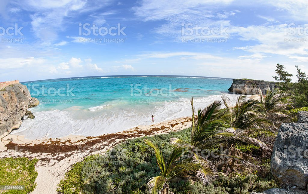Woman alone at the Caribbean beach royalty-free stock photo