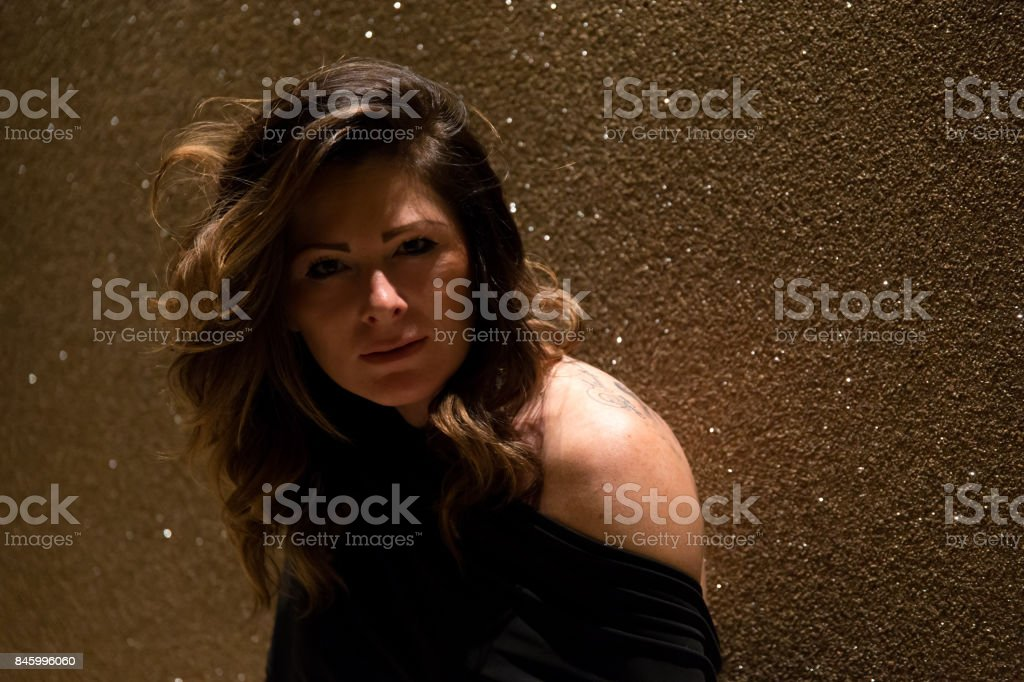 A woman alone in the apartment stock photo
