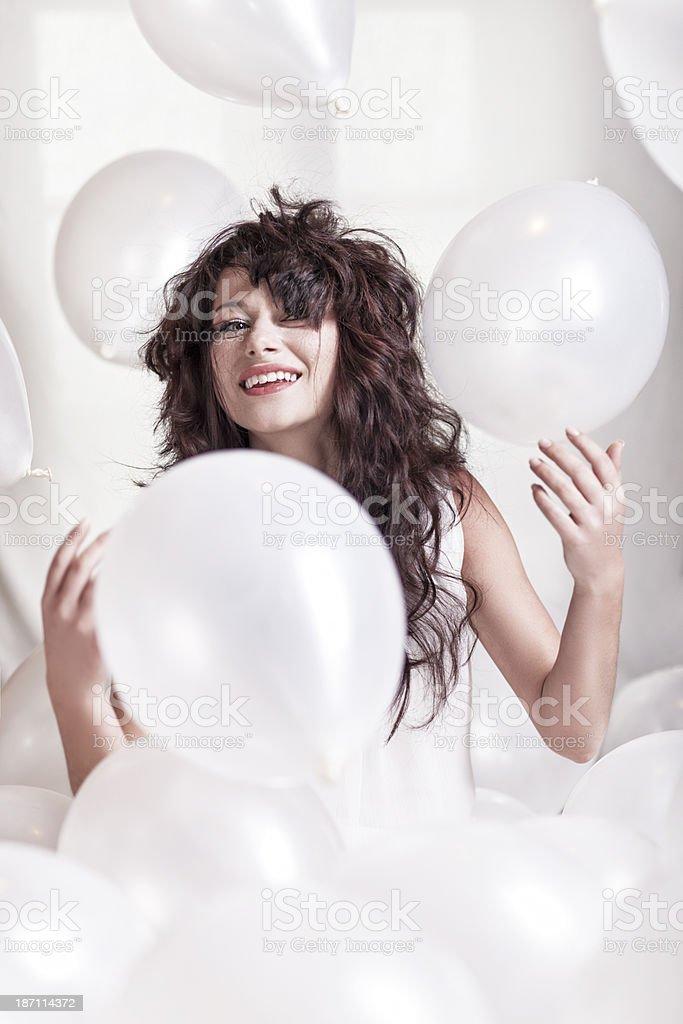 Woman Among Balloons royalty-free stock photo
