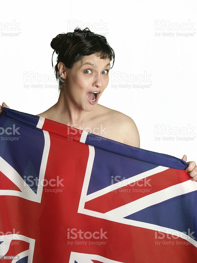 Woman and a Flag (UK) royalty-free stock photo