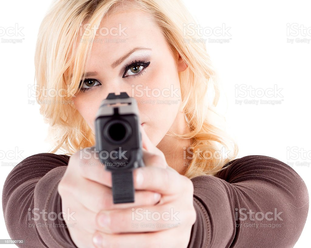 Woman and a glock royalty-free stock photo