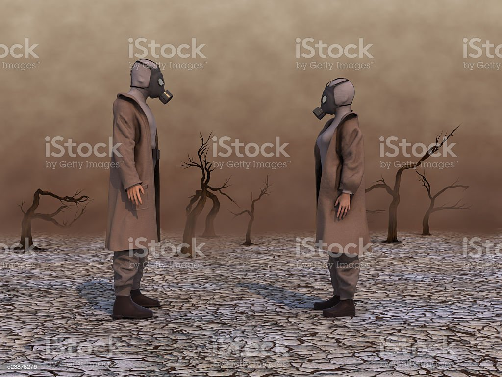 Woman and a man with gas masks stock photo