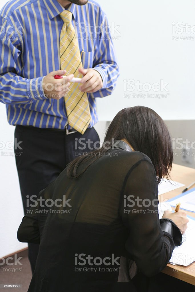 Woman and a teacher at seminar royalty-free stock photo