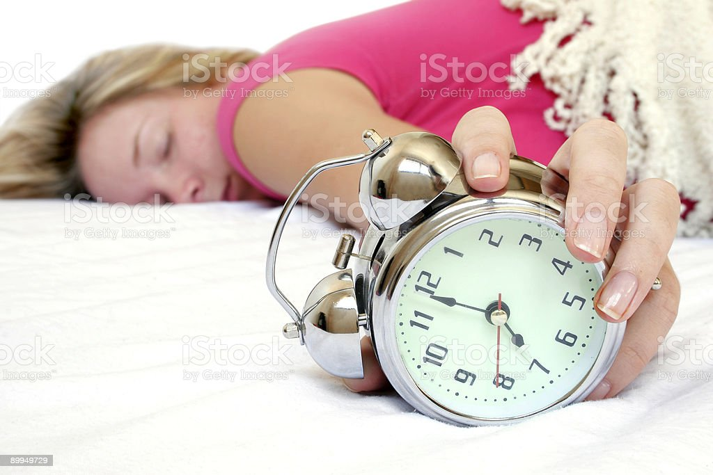 Woman and Alarm royalty-free stock photo