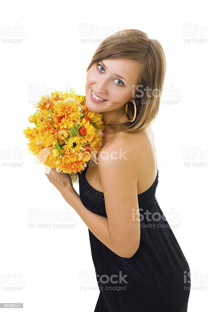 Woman and autumn flowers royalty-free stock photo