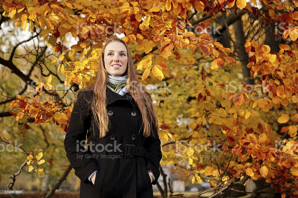 Woman and Autumn royalty-free stock photo