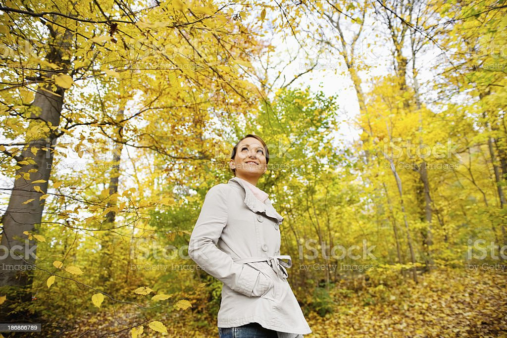 Woman and Autumn - Wide Angle royalty-free stock photo