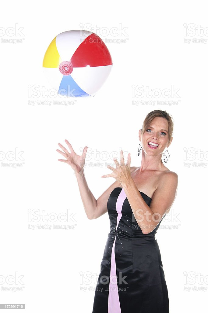 Woman and Beach Ball royalty-free stock photo