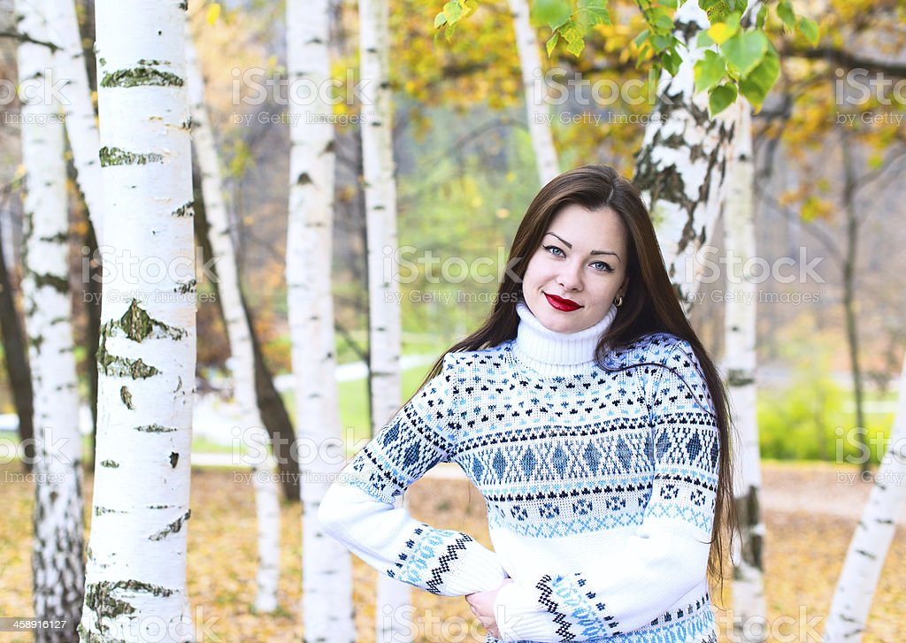 Woman and  birch royalty-free stock photo