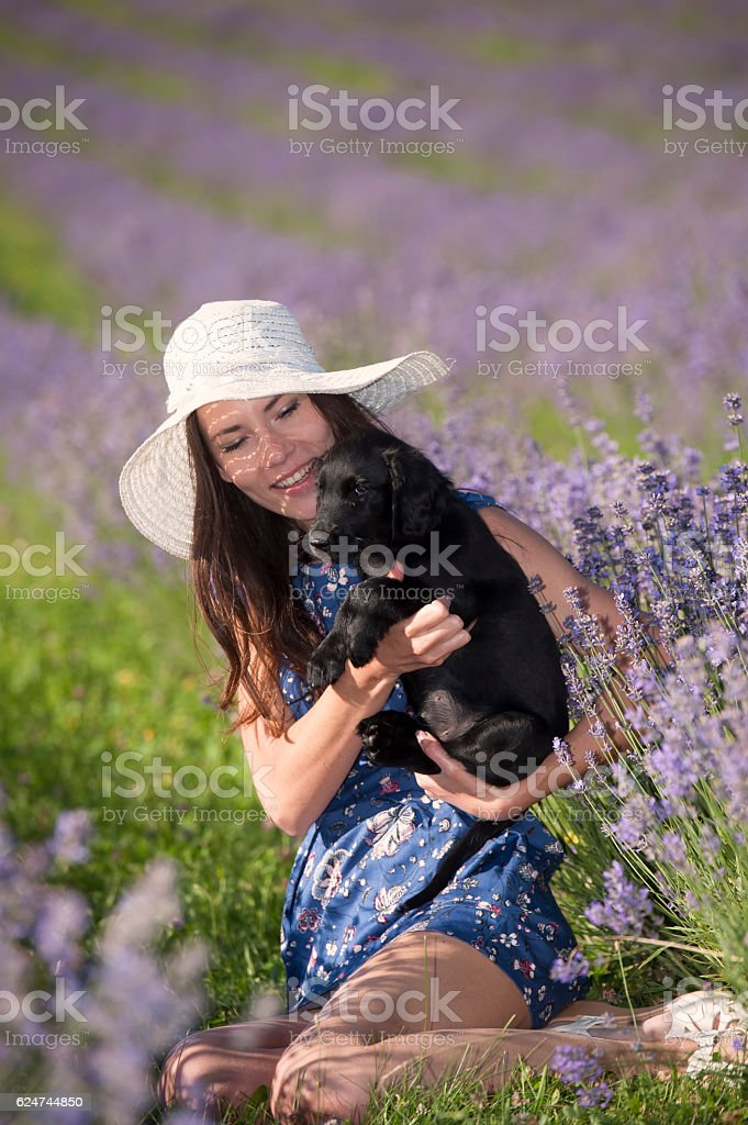 Woman and black puppy in flowers stock photo