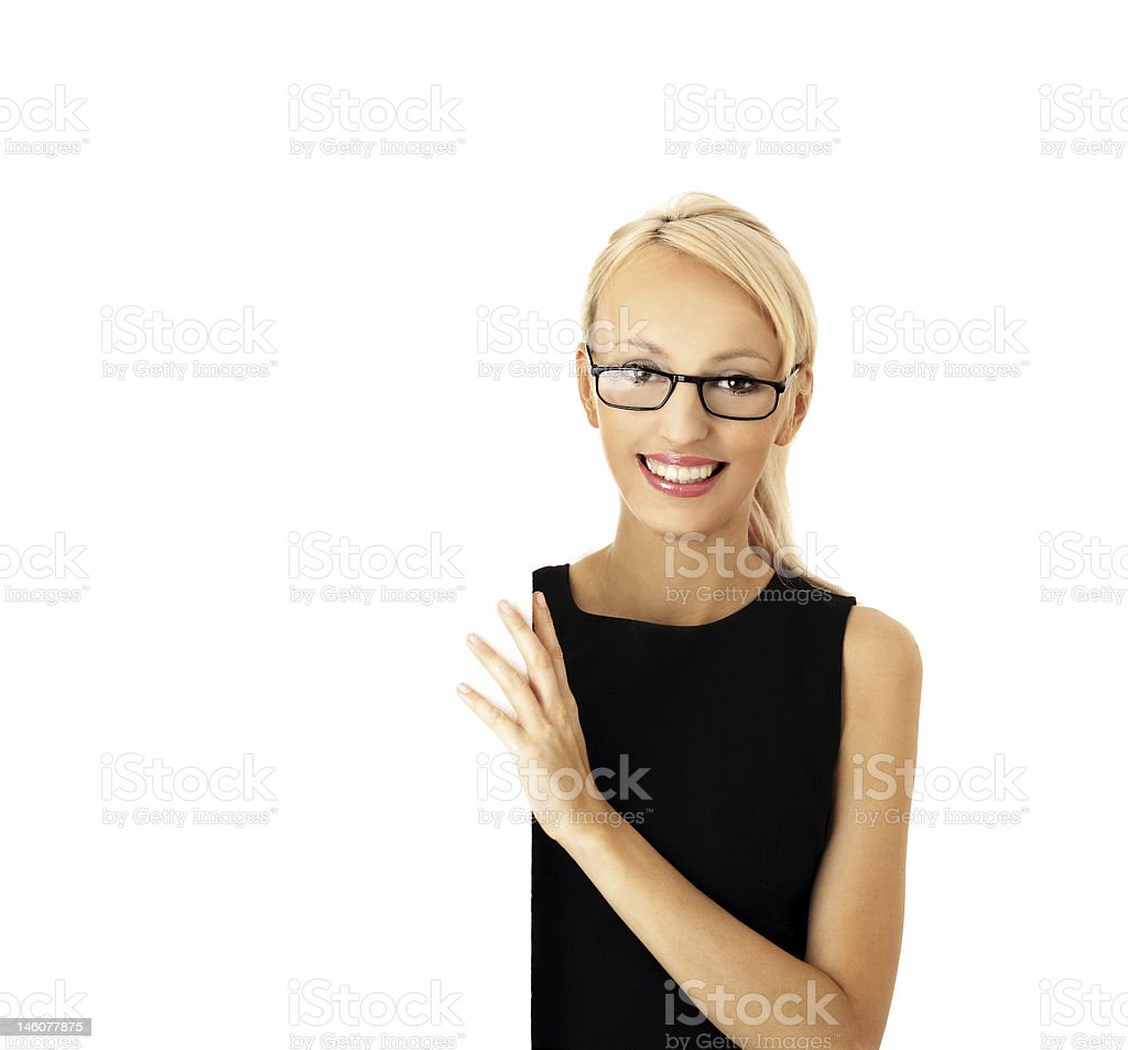 woman and blank sign royalty-free stock photo