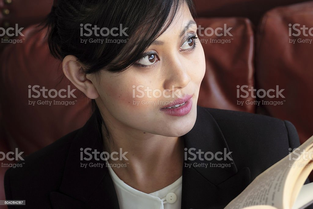 Woman and Book stock photo