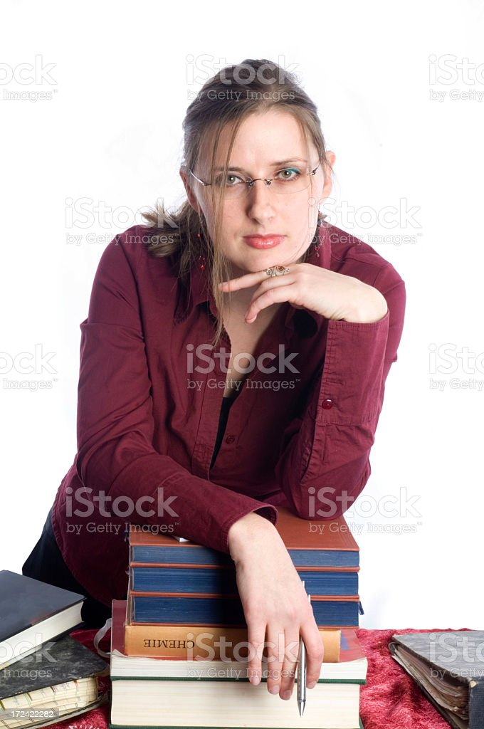 Woman and books royalty-free stock photo