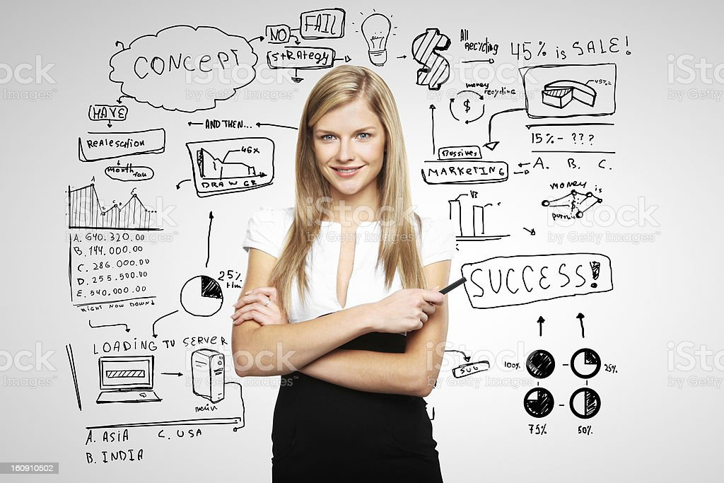 woman and business plan stock photo