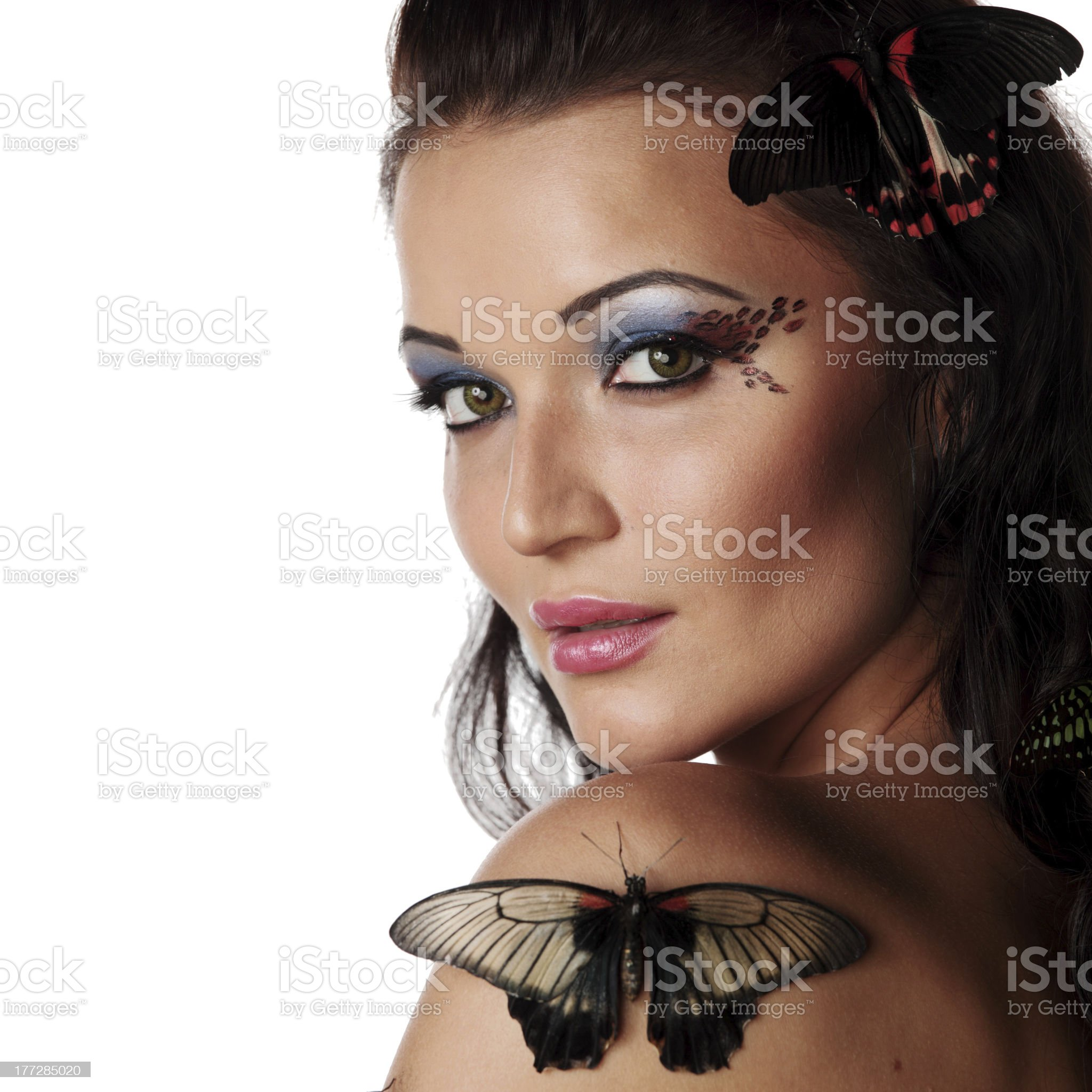 woman and butterfly royalty-free stock photo