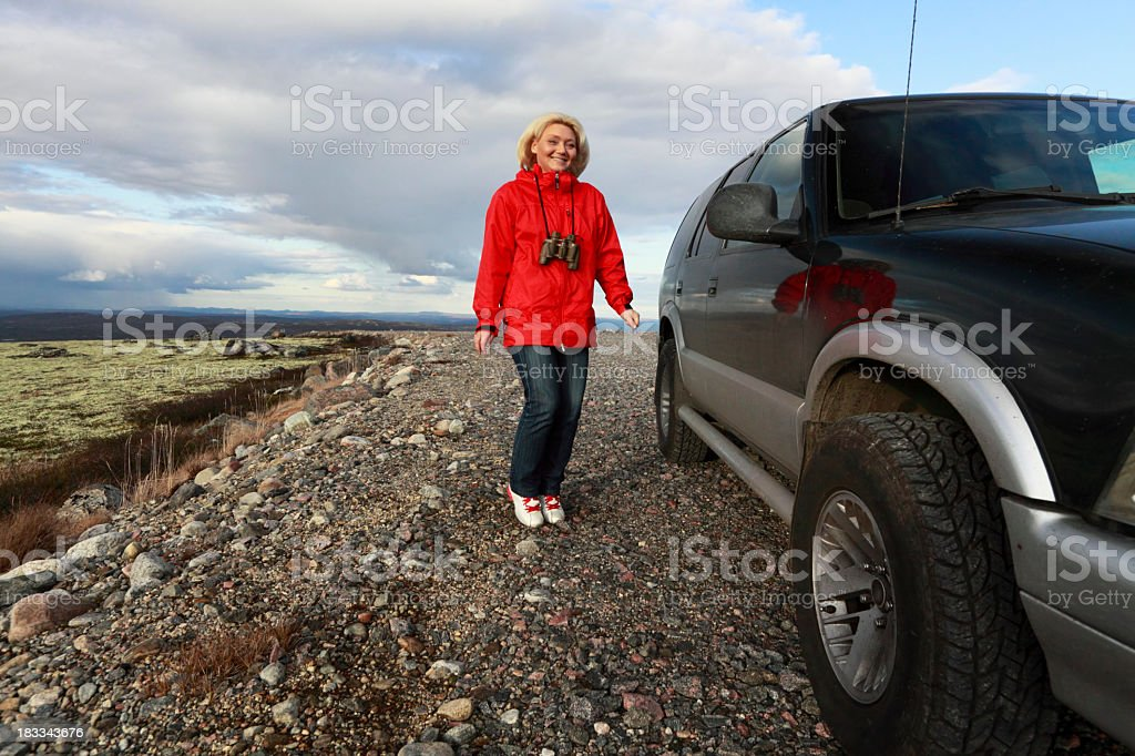 Woman and car. royalty-free stock photo