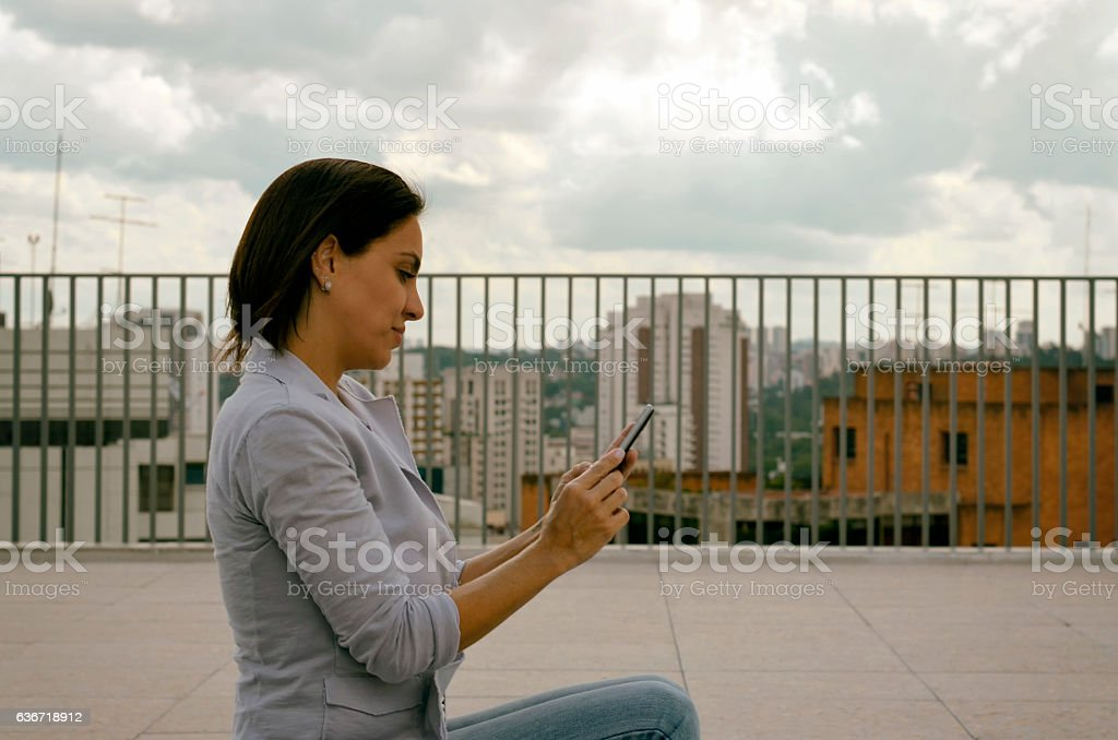 Woman and Cell stock photo