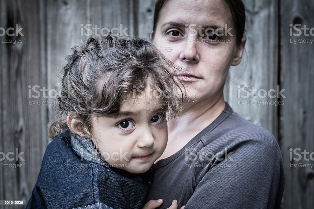 Woman  and child stock photo