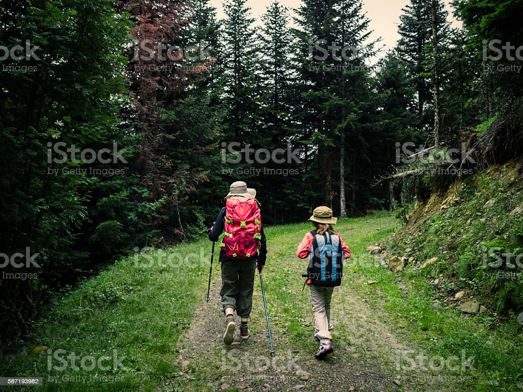Woman and child trekking in the forest stock photo