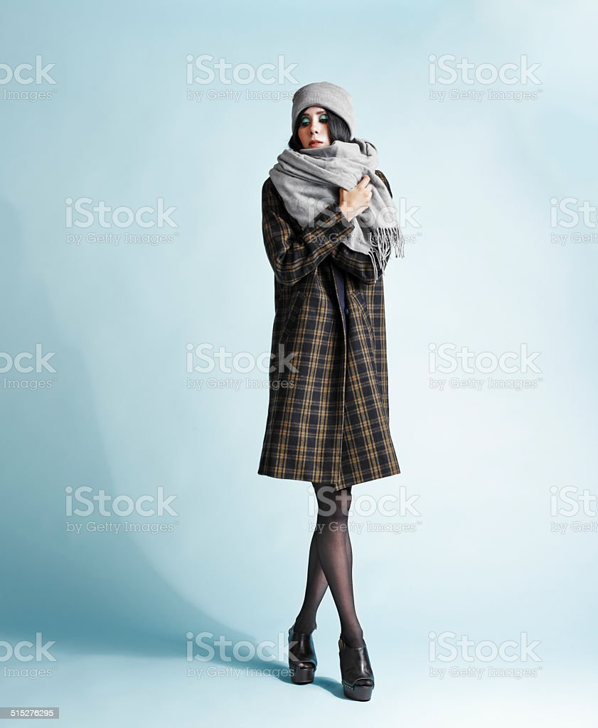 Woman and coat stock photo