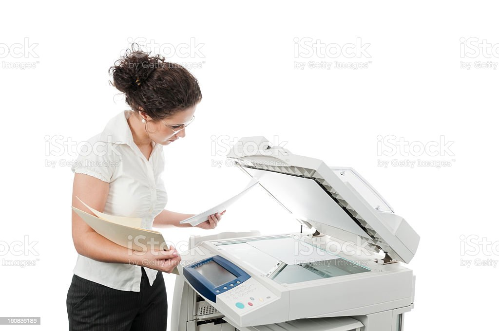Woman and computer printer, isolated on white stock photo