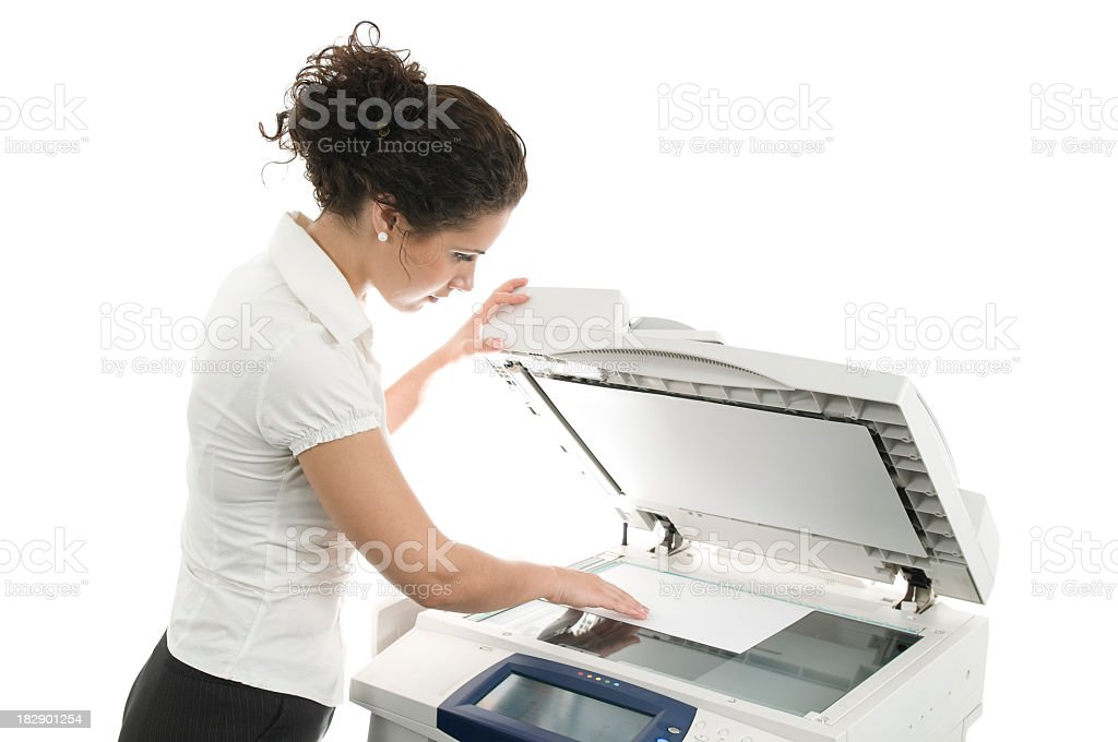 Woman and computer printer, isolated on white royalty-free stock photo