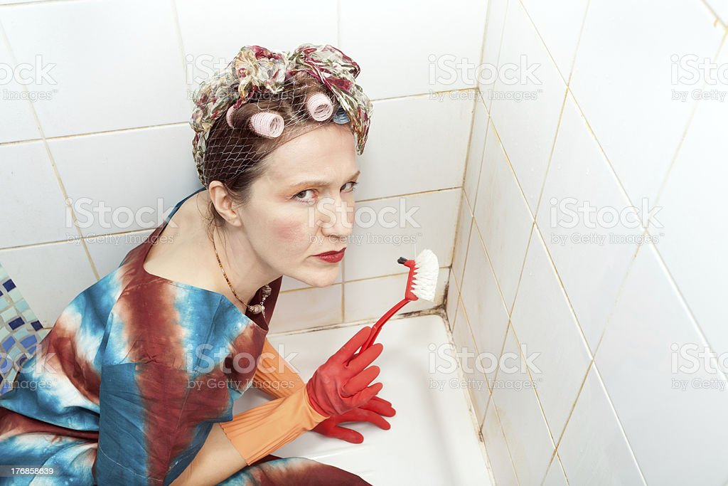woman and dirty bathroom royalty-free stock photo