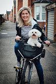 Woman and Dog on Bike