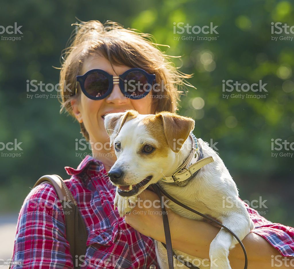 woman and dog royalty-free stock photo
