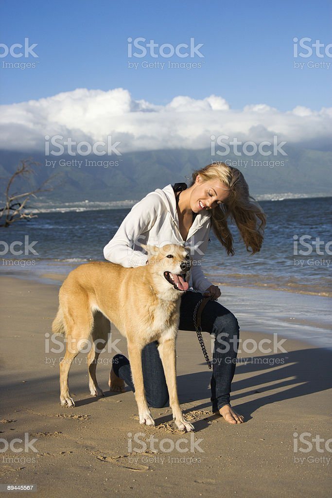 Woman and dog. royalty-free stock photo