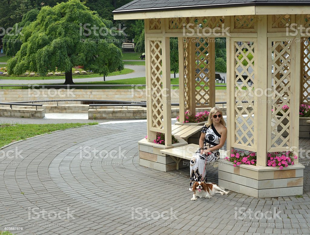 Woman and Dog Resting stock photo