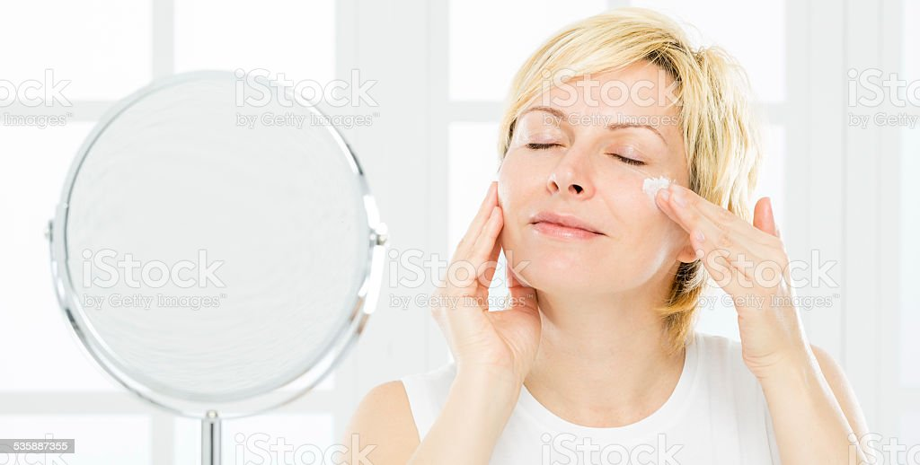Woman and face care. stock photo