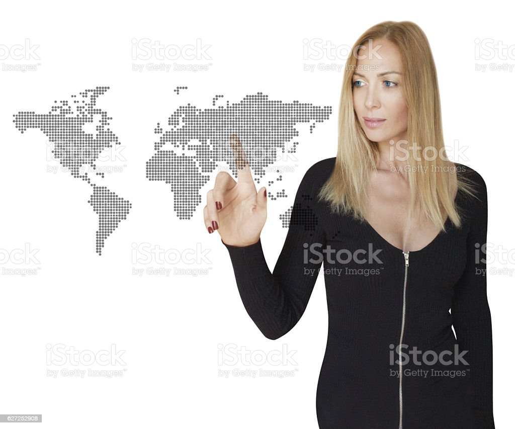 Woman and Global Business Links stock photo