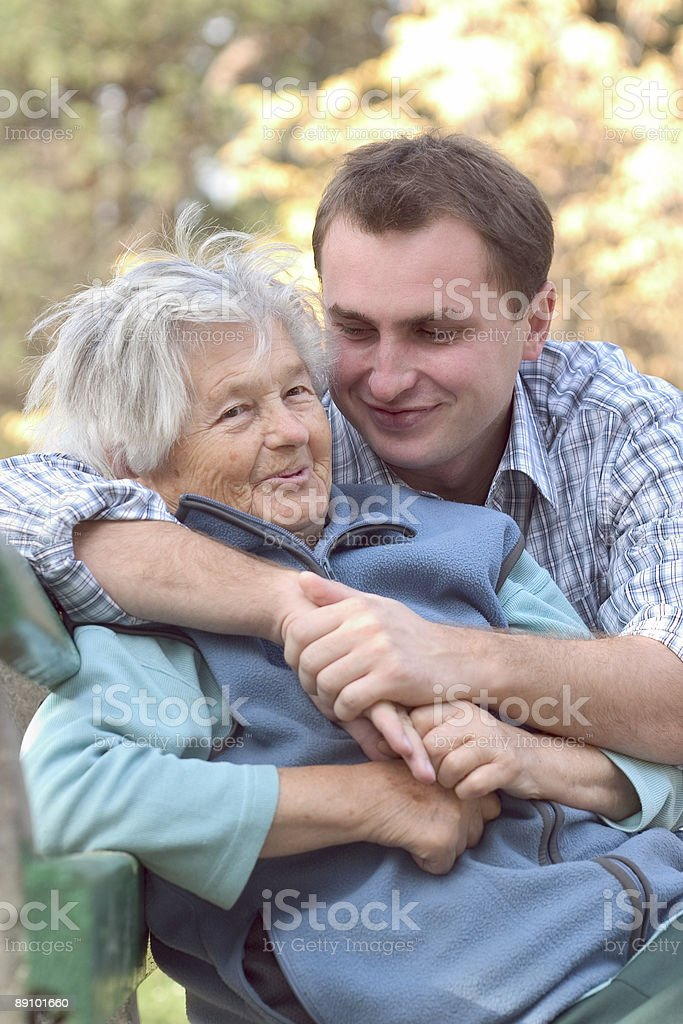 Woman and grandson outdoors royalty-free stock photo