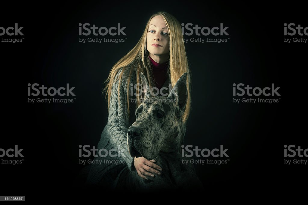 Woman and Great Dane royalty-free stock photo
