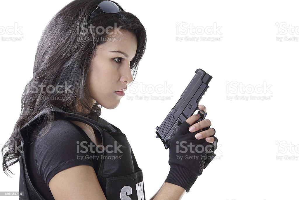 woman and gun stock photo