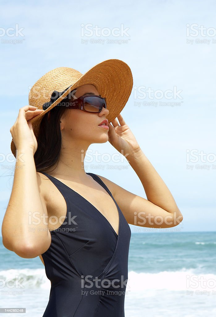 woman and hat stock photo