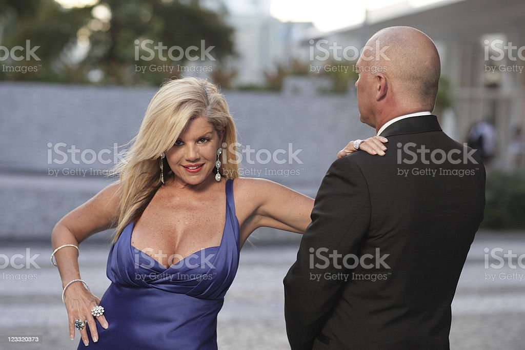 Woman and her male servant royalty-free stock photo