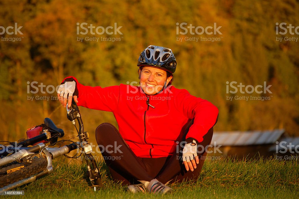 woman and her mountainbike stock photo