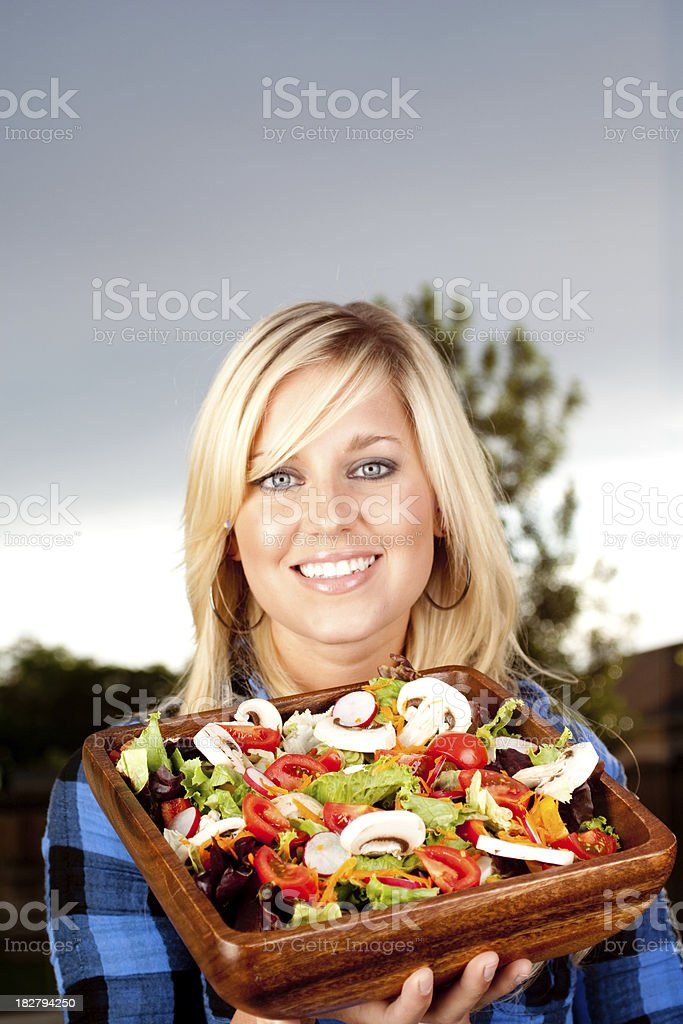 Woman and her salad royalty-free stock photo