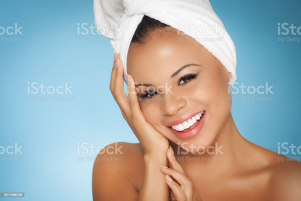 Woman And Her Skincare stock photo