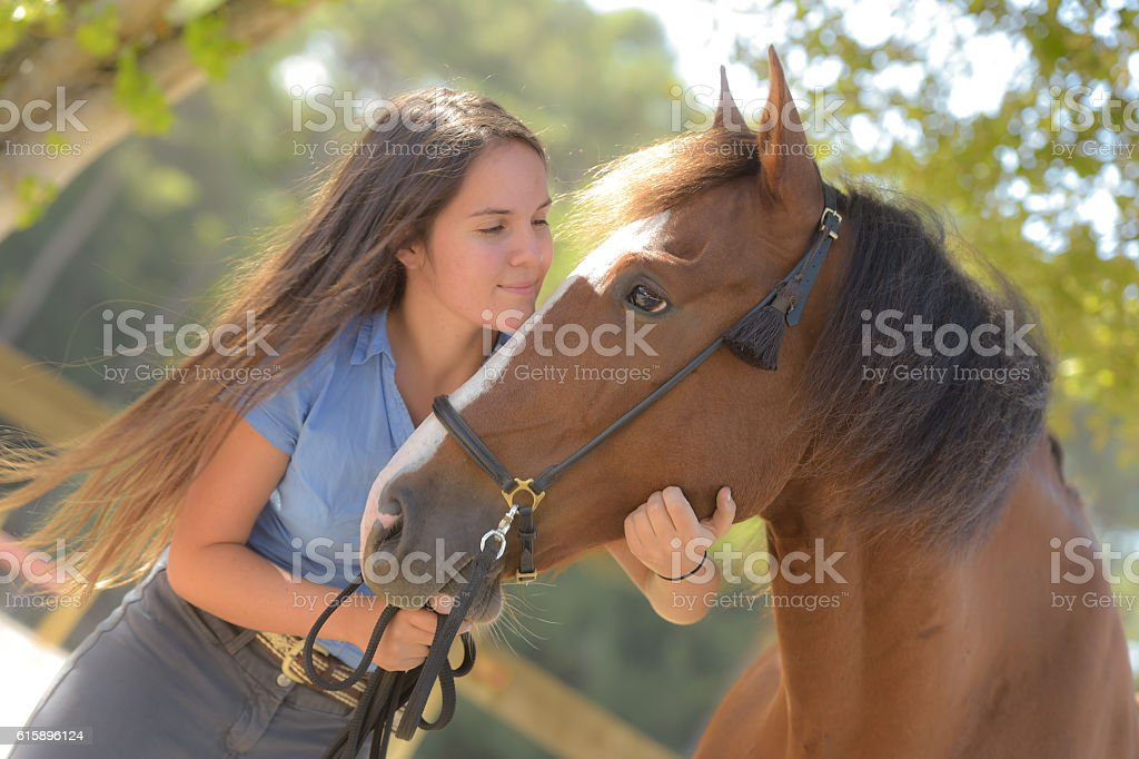 Woman and his horse, equestrian center stock photo