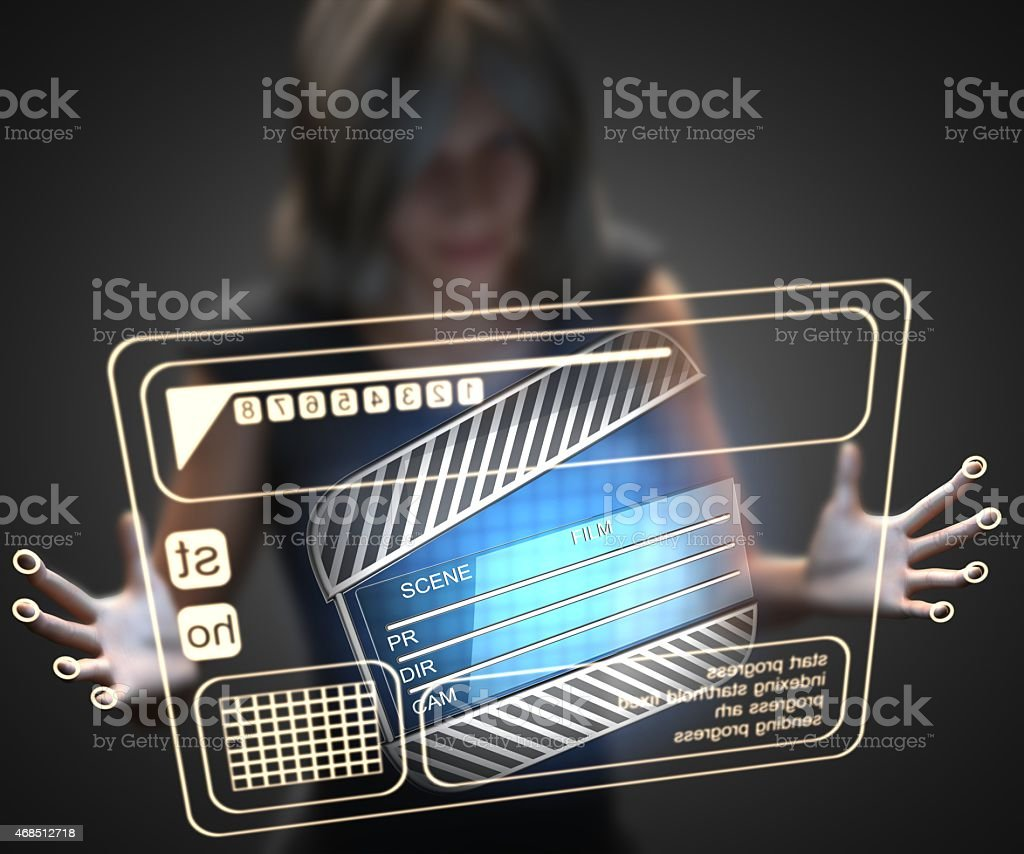 woman and hologram with clapboard stock photo