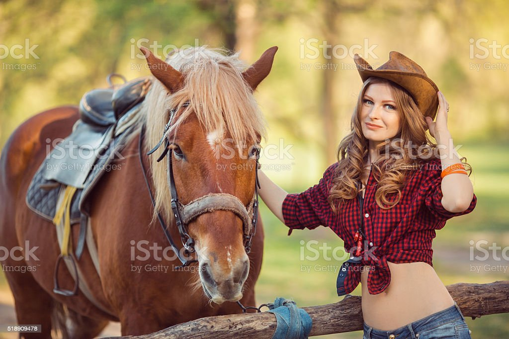 Woman and Horse. Wild West Retro Style stock photo