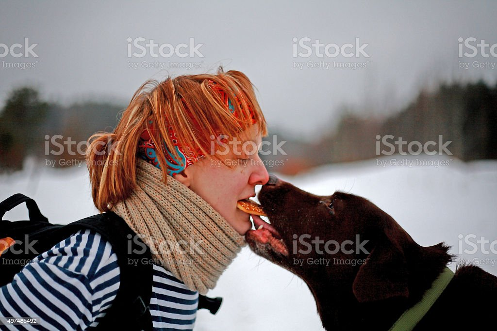 Woman and Labrador Share a Cookie stock photo