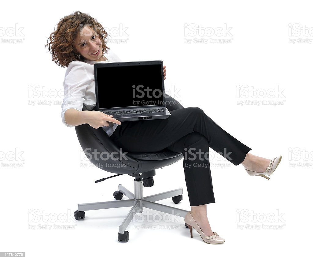 woman and laptop royalty-free stock photo