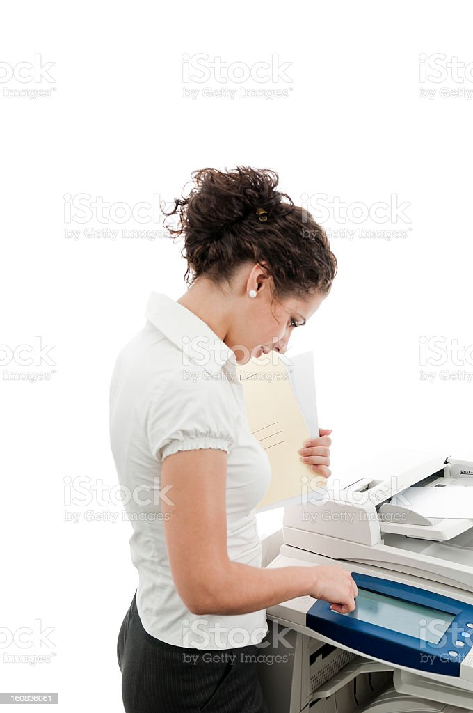 Woman and large format printer, isolated on white stock photo