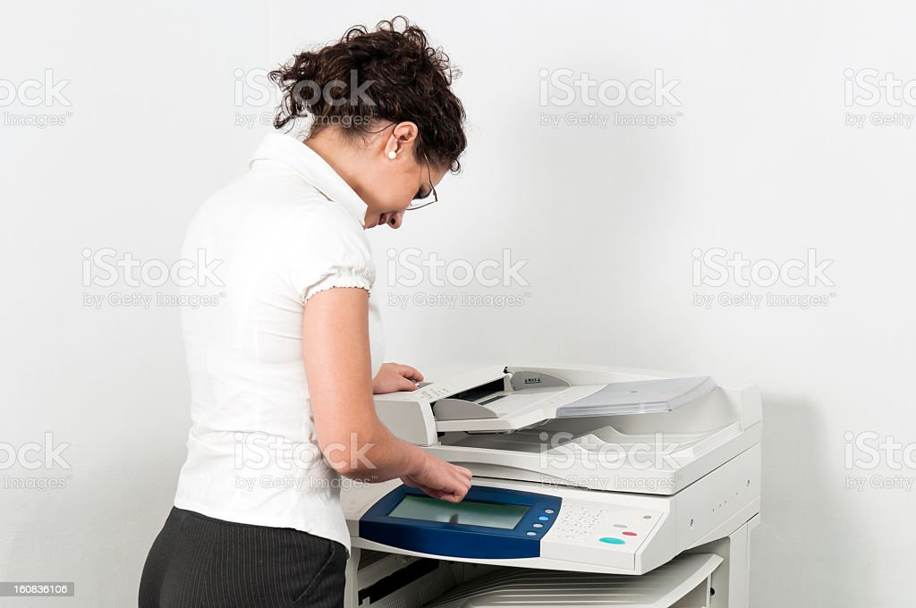 Woman and large format printer
